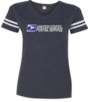 Ladies V-Neck Vintage Football Tee