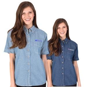 Ladies Short Sleeve Sandwashed Denim Shirt