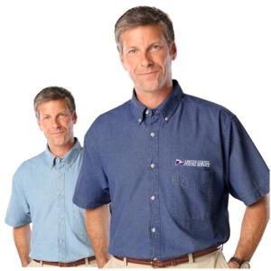 Men' Short Sleeve Sandwashed Denim Shirt