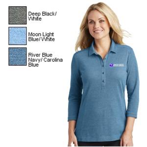 Ladies 3/4 Sleeve Coastal Cotton Blend Polo