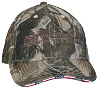 Camo Cap w/US Flag Sandwich Bill