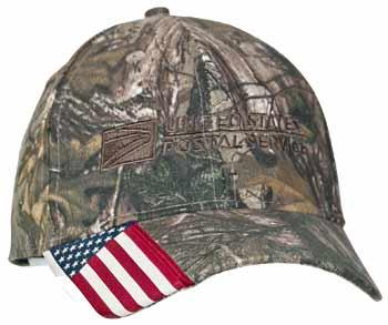 Camo Cap w/US Flag Bill