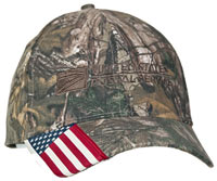 Camo Cap w/US Flag Bill