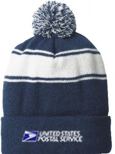 Stripe Pom Pom Cuffed Knit Cap
